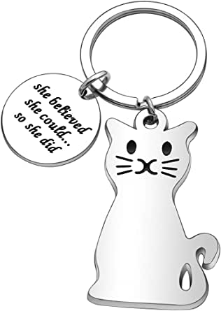 Inspirational Gifts, Cat Metal Keychain Keyring Keyfob Key Ring Car Keyring for Women