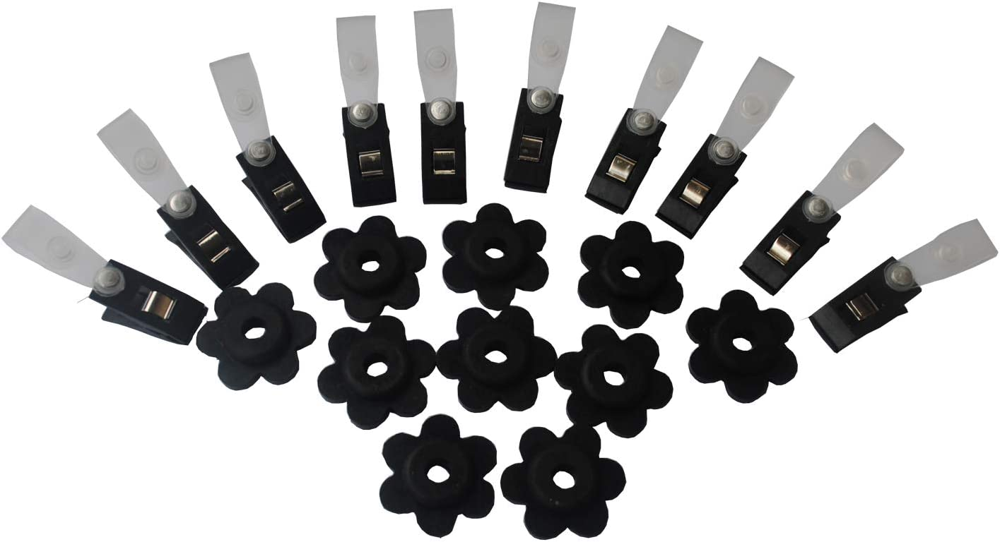Ashley ZC 10 Set of Garden Flag Stoppers, Rubber Stops and Plastic Anti-Wind Clips - Garden Flag Pole Stand Accorrssies - 20 Pieces