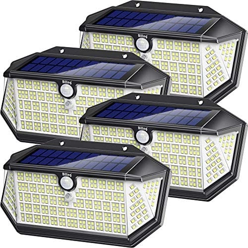 Biling Solar Lights Outdoor 266 LED with Lights Reflector, IP65 Waterproof Solar Motion Sensor Security Lights, 3 Modes Wireless Wall Lights for Garden, Patio, Yard, Garage 4 Pack