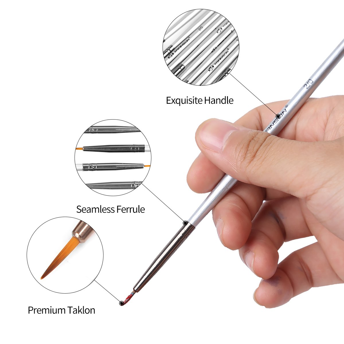 Transon Artist Miniature Detail Paint Brushes Set of 12pcs for Acrylic, Oil, Gouache, Watercolor, Tempera, Enamel, Nail and Body Painting by Transon (Image #2)