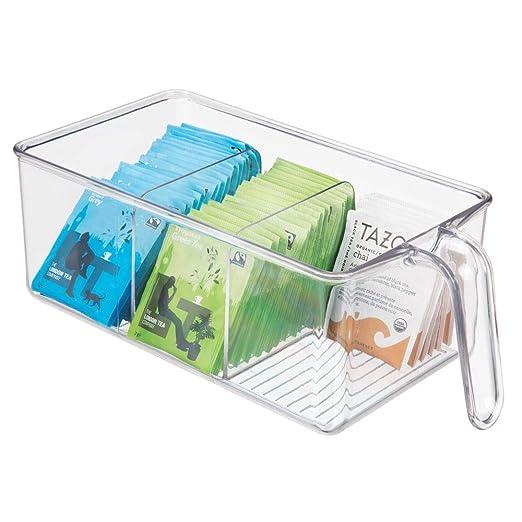 mDesign Caja de almacenamiento de plástico con 3 compartimentos ...