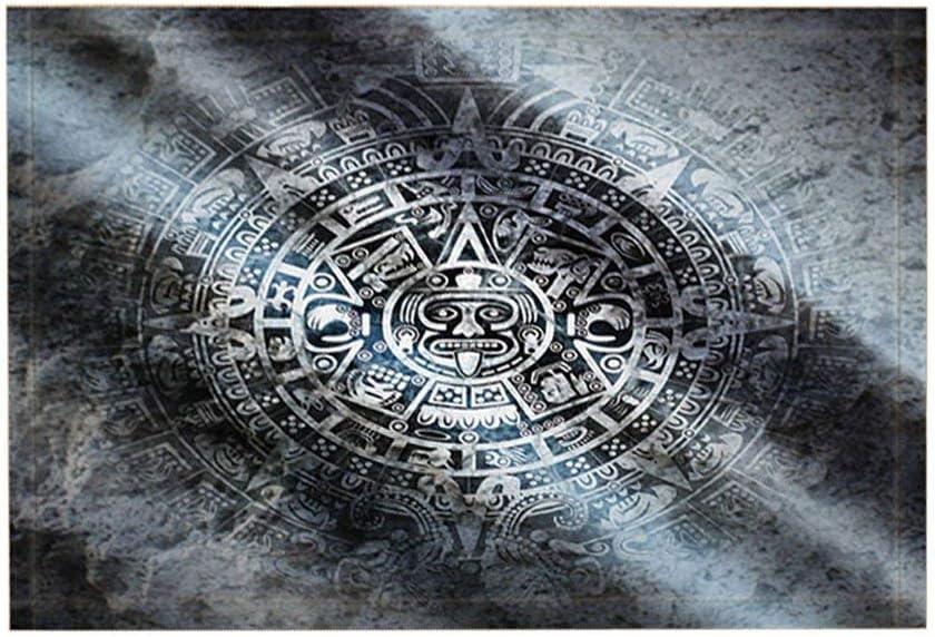 vrupi Alfombras baño Cultura Vintage Estilo Indio Americano Calendario Maya Piedra Alfombra Piso Antideslizante Entradas Alfombra Puerta Delantera para niños 15.7x23.6in