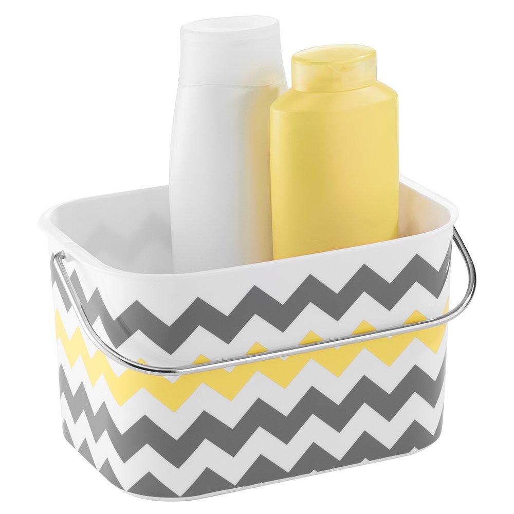 Amazon.com: InterDesign Una Bathroom Tote Basket With Handle, Gray/Yellow  Chevron: Home U0026 Kitchen