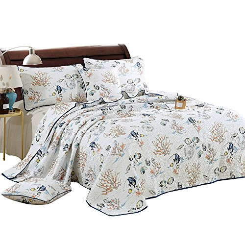 Fish Quilt Set - Alicemall Ocean Themed Quilt Set 100% Cotton Fish Coral Prints White Quilt Bedspreads Set, Queen Size Bedding Set (Fish, Queen)
