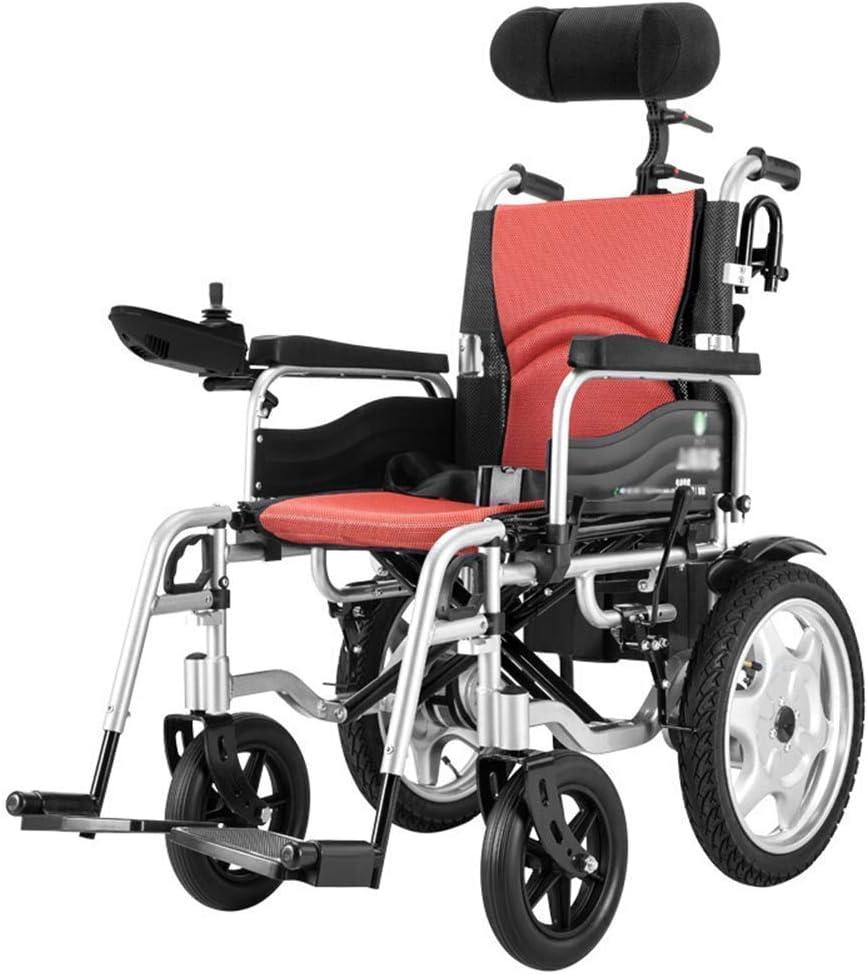 Silla de ruedas eléctrica plegable con reposacabezas, silla eléctrica liviana para ancianos discapacitados, respaldo ajustable y ángulo de pedal 360 ° Joystick, ancho del asiento 44 cm,Negro,20AH
