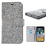iPhone X Case, iPhone X Wallet Cover, Cute Bling Glitter Sparkly Rhinestone PU Leather Flip Protective Cell Phone Skin with Kickstand and Credit Card Function Fit for Apple iPhone X 5.8 inch (Silver)