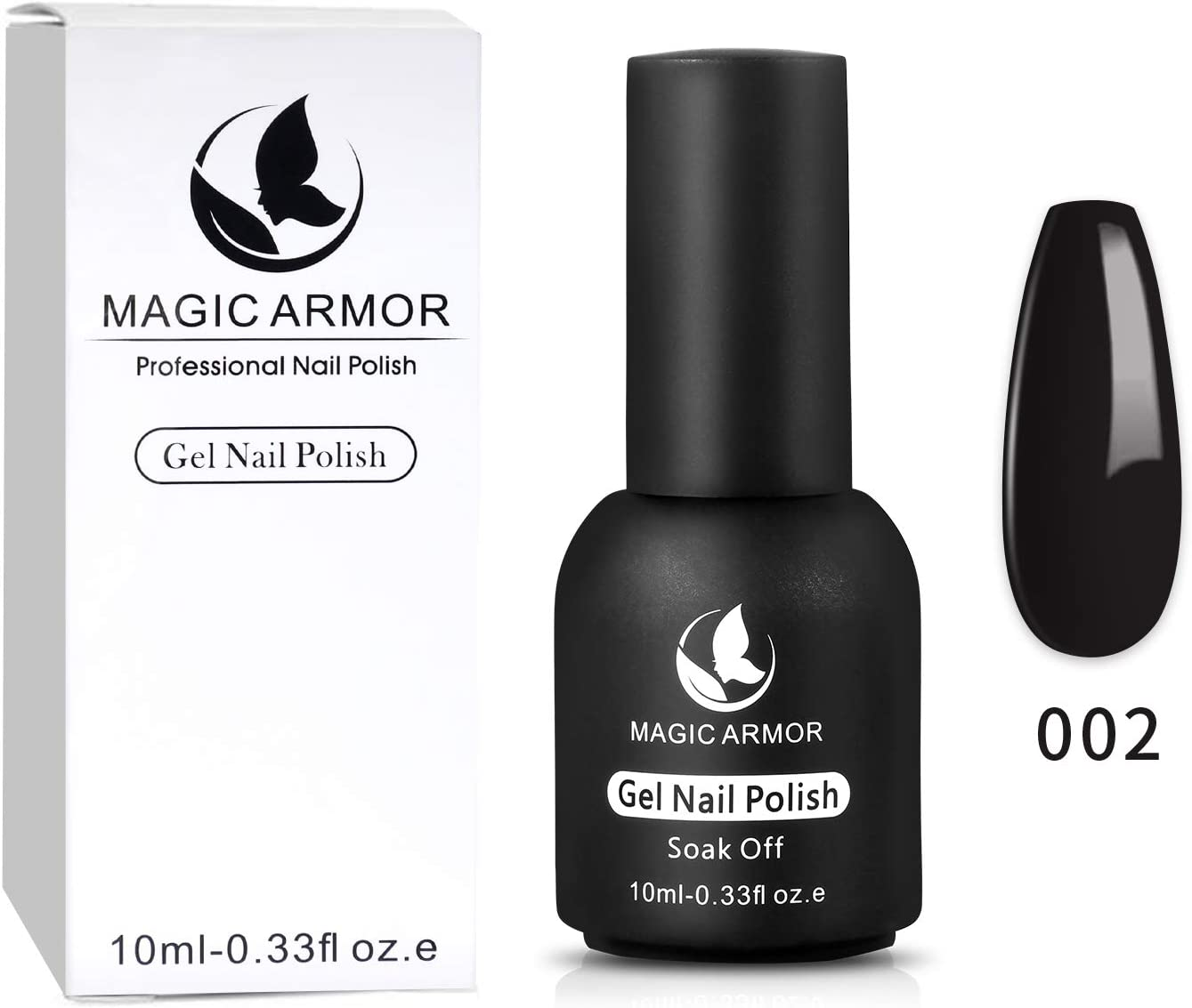 MAGIC ARMOR Gel Nail Polish Black Soak Off UV Gel Polish Nail Art Salon Manicure Nail Lacquer Varnish 10ml (002): Health & Personal Care