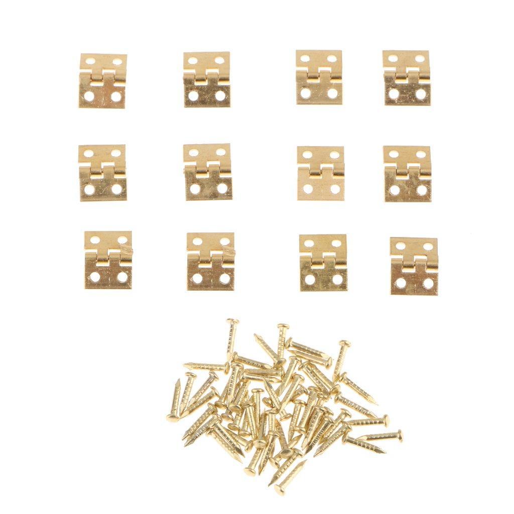 Silber D DOLITY 12 stk Miniatur Metall Scharniere T/ürscharniere mit Schrauben f/ür Puppenhaus M/öbel