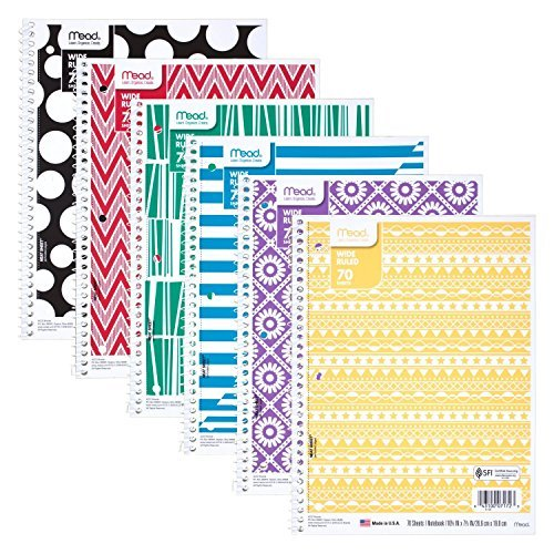 Mead Fashion Commodity Spiral Notebook, 1 Subject, Wide Ruled Paper, 70 Count, Design Will Vary ( 6 Pack)