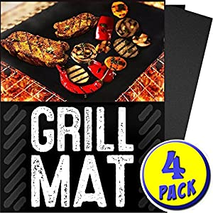 Zebra Style Professional Grill Mat - Non-Stick Grill Mats 13 x 16inch - FDA-Approved PFOA Free Reusable and Easy to Clean BBQ Accessories for Gas Charcoal Electric BBQ Grill Baking Mats and More (4)