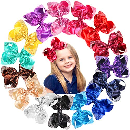 15Pcs 6 Inches Big Bows for Baby Girls Bling Sparkly Sequins Bow Clips Boutique Hair Bows For Girls Kids Children Women Ribbon Bowknot Alligator Hair Clips (Bow Large Sequin)