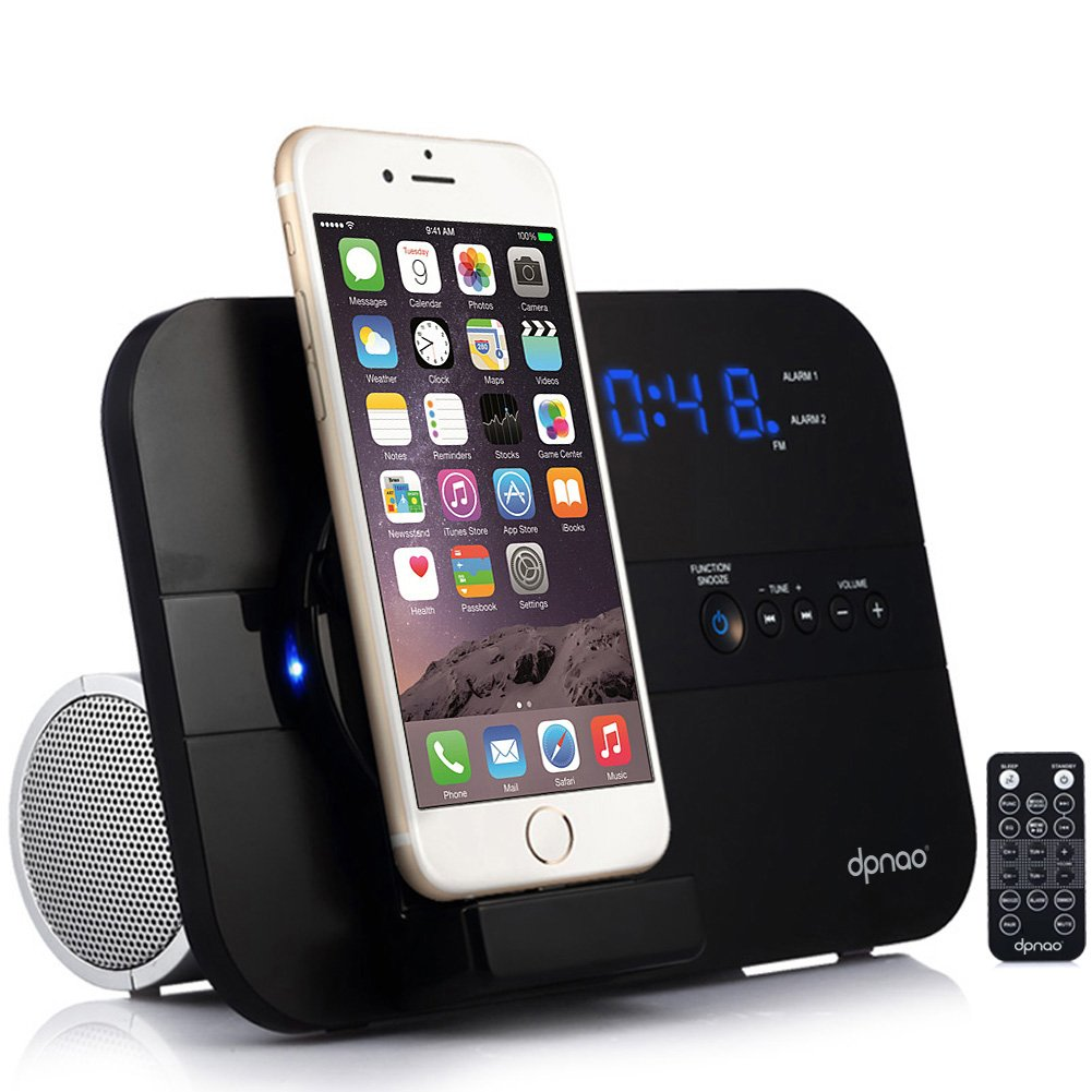 dpnao Alarm Clock FM Radio Speaker with iPhone Charger Stand Docking Station USB Charge Port AUX Remote Apple MFi Certified (Not Wireless Charging) by dpnao
