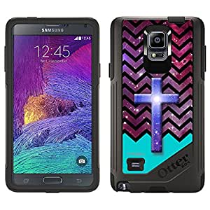 Skin Decal for OtterBox Commuter Samsung Galaxy Note 4 Case - Cross on Chevron Black White Turquoise Ribon on Nebula