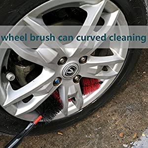 "ACUSKI 18"" Master Car Wheel Brush Long,Easy Reach Soft Bristle Wheel and Rim Detaling Cleaner Wheel Cleaning Car Washing Brush for Tire Rims,Vehicle,Motorcycle,Bicycle,Engine,Exhaust Tips,(XL)"