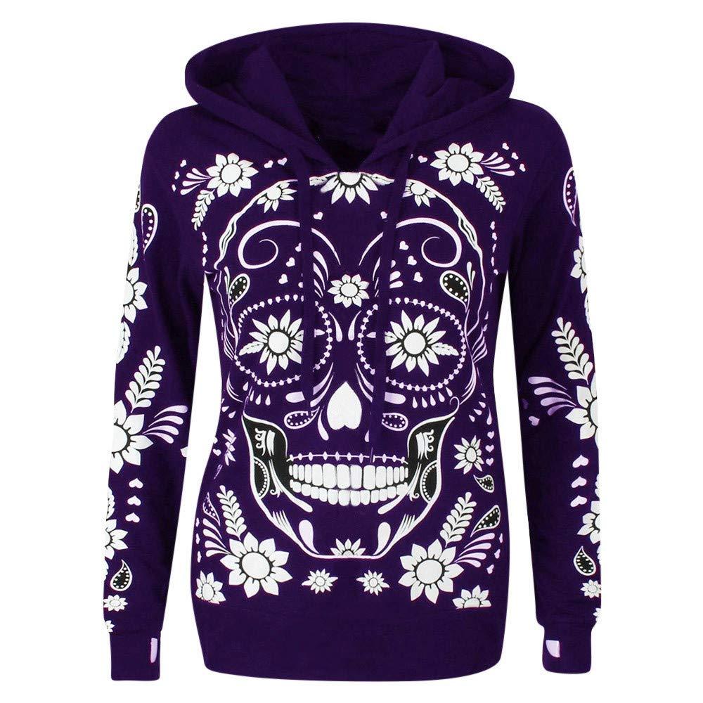 Shusuen Womens Long Sleeve Pullover Graphic Hoodie Sweatshirts Skull Print Pullover Hooded Purple by Shusuen_Clothes