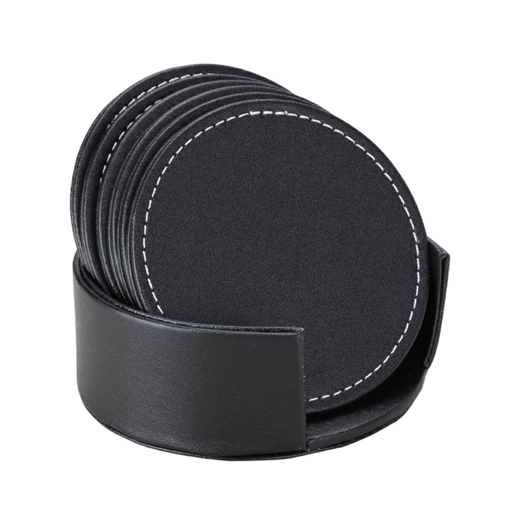 Homyl Brown PU Leather Drink Coasters Set of 6 Glass Mug Cup Mats Pats Table, good thermal insulation, protect your furniture, soft touch.