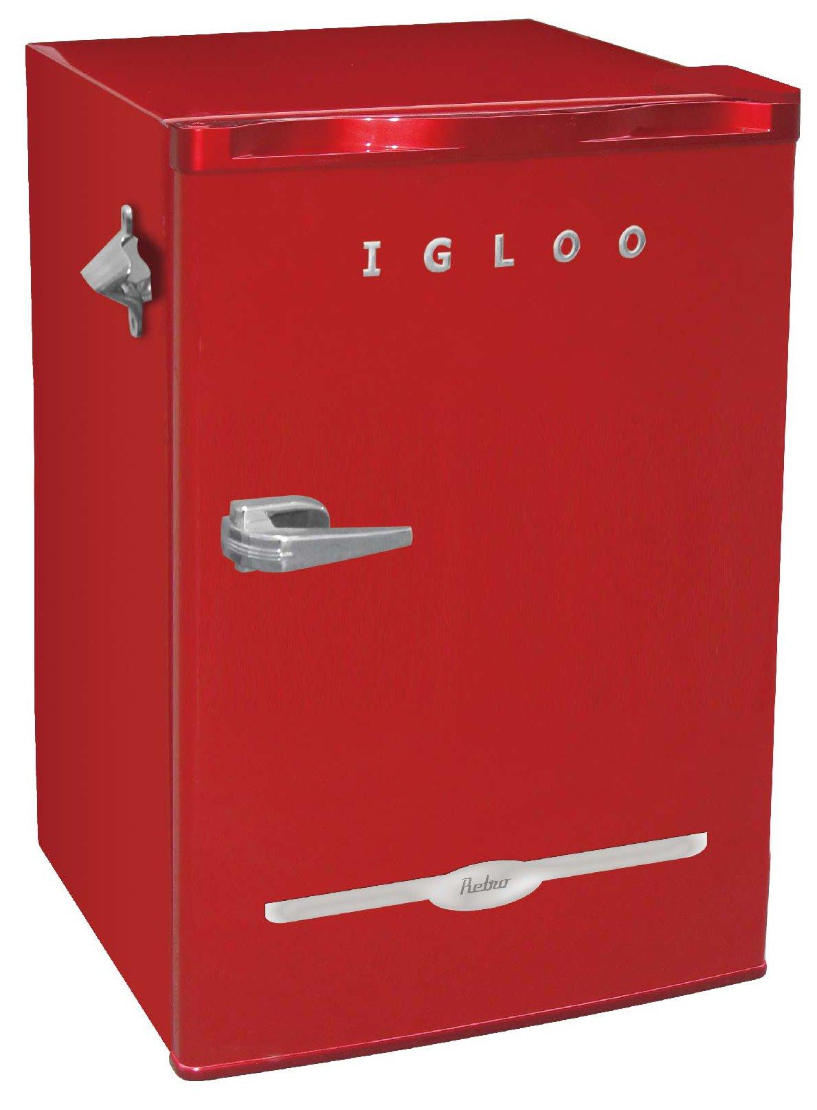 Igloo FR376-RED Retro Bar Fridge with Side Bottle Opener, 3.2 cu. ft., Red