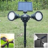 Ocamo Solar Power LED Lawn Pin Lamp Outdoor Waterproof 36 LEDs Double Rotation Spotlights Yard Decoration White Light