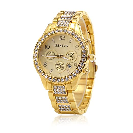 Relojes Mujer Marca de lujo pulsera Jolie y Magnifique relojes de moda (oro)