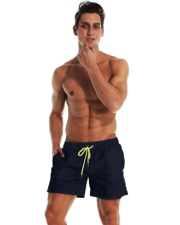 YnimioAOX Mens Swim Trunks Quick Dry Beach Board Shorts Swimwear Bathing Suit with Mesh Lining