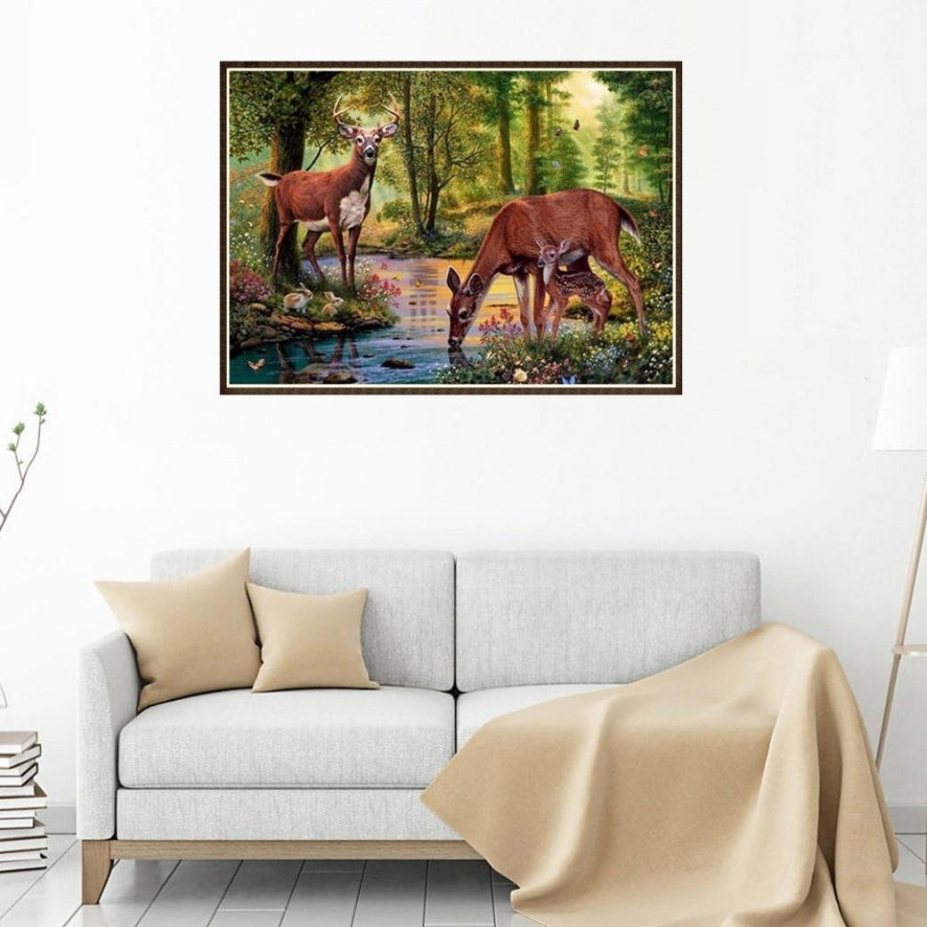 FORESTIME 30x25cm 5D DIY Full Diamond Painting Deer Pasted Embroidery Kit Rhinestone Cross Stitch Supplies Tools Set for Arts Crafts Home Decorations DIY Diamond Painting Cross Sti Green