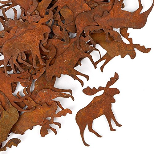 (Factory Direct Craft Package of Flat Back Rusted Tin Moose Cutouts for Indoor or Outdoor Decor - 60)