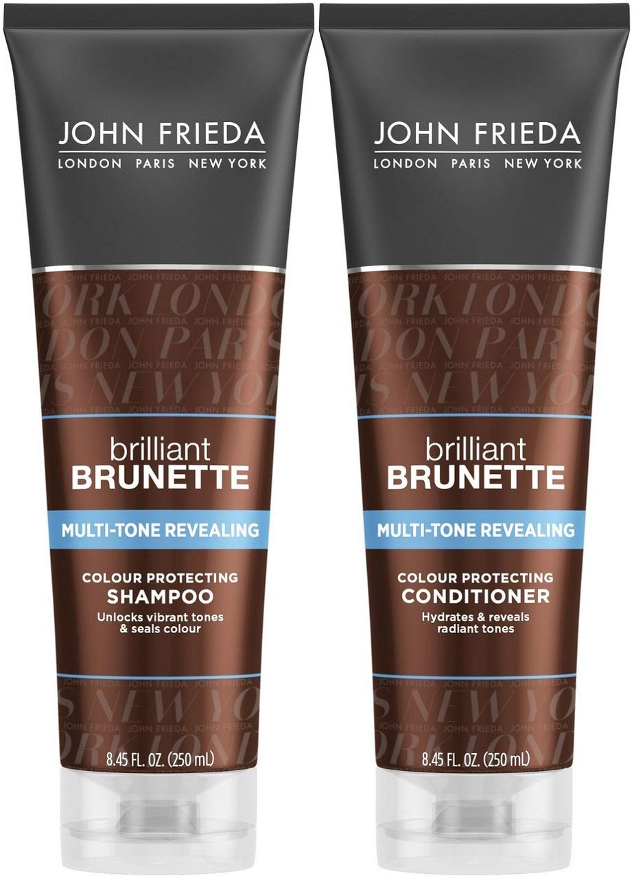 John Frieda Brilliant Brunette Multi-Tone Revealing Color Protecting Duo Set Shampoo and Conditioner, 8.45 Ounce, 1 Each