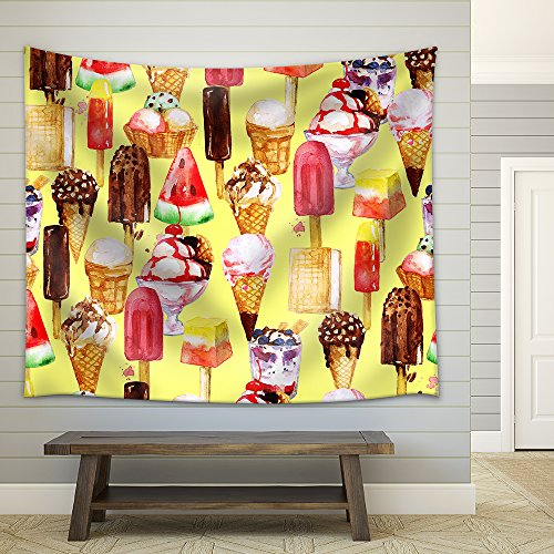 Ice Cream Mix Watercolor Seamless Pattern Fabric Wall