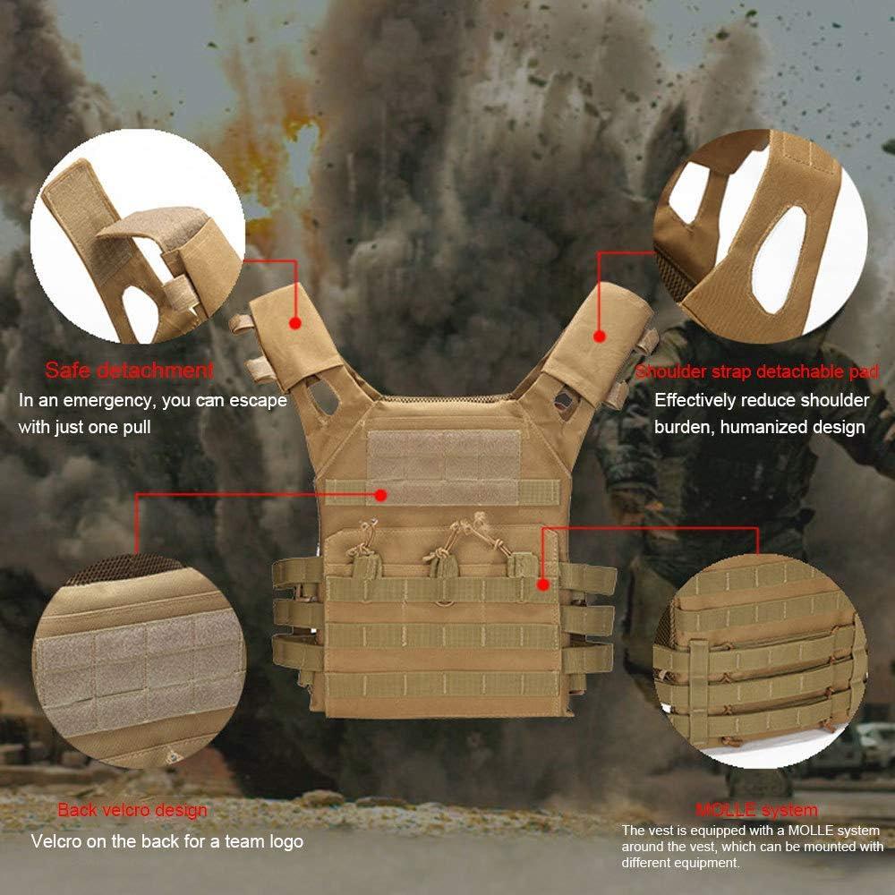 MASII Outdoor Tactical Vest Multifunktions-MOLLE Expansion Und Bequeme Milit/ärische Ausbildung COS Combat Exercises JPC Vest,A