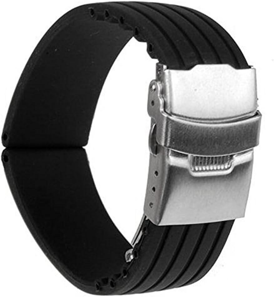 Correa Mudder para reloj, de goma de silicona, con hebilla desplegable, 22mm, negra