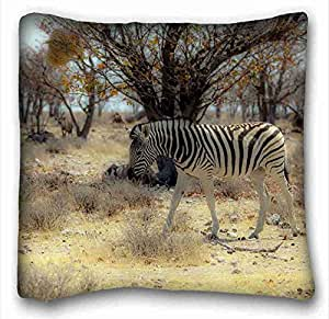"""Custom ( Animals zebra nature ) Pillowcase Standard Size 16""""X16"""" Design Pillow Case Cover suitable for Twin-bed PC-White-2562"""