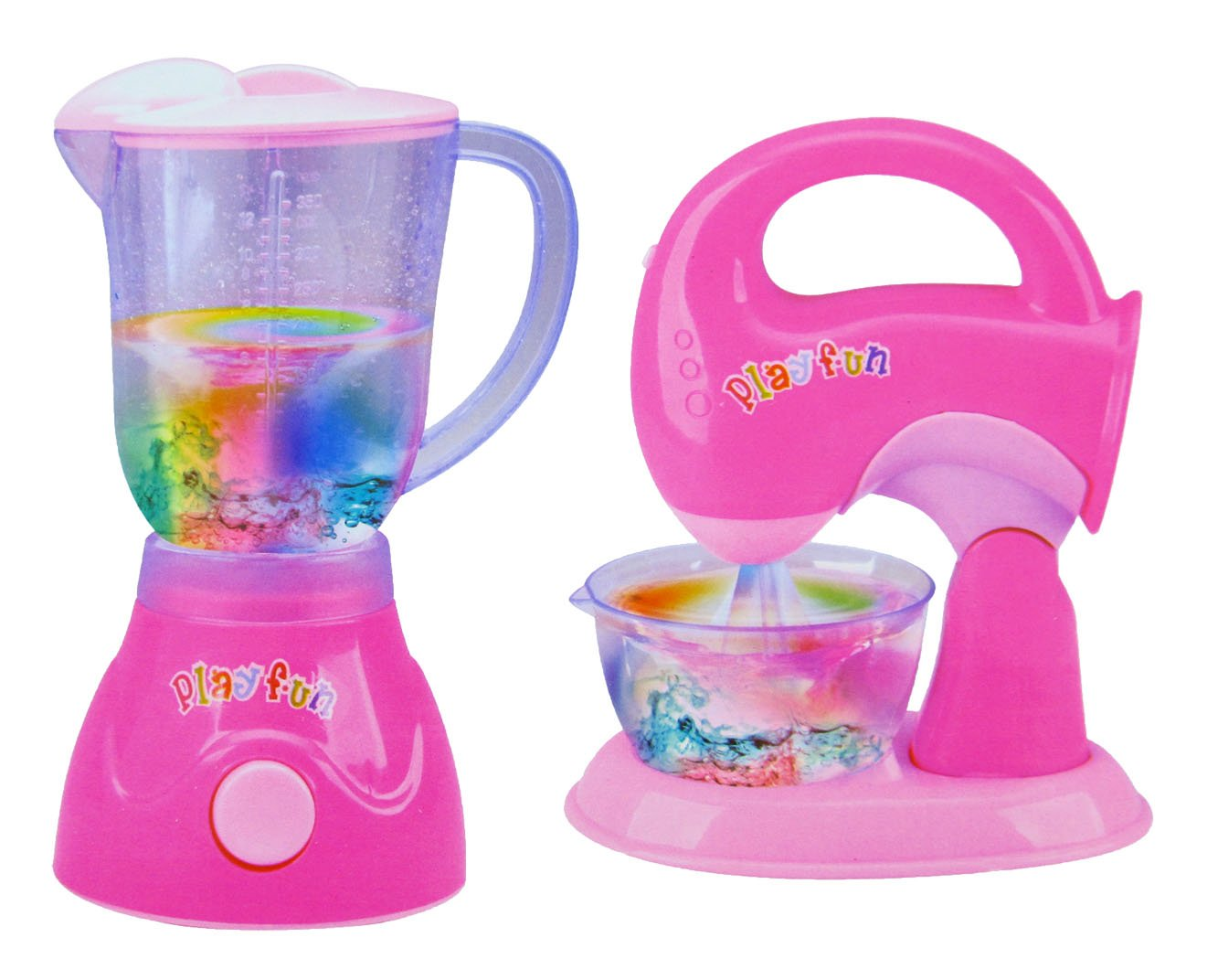 Liberty Imports Pink Blender and Mixer Kitchen Appliances Toy Set for kids with Light Up Swirling Colors
