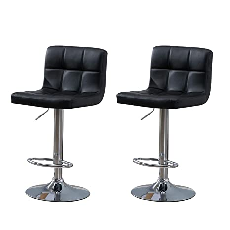Wondrous Samincom Modern Pu Leather Swivel Adjustable Barstools Synthetic Leather Hydraulic Counter Stools Square Height Bar Stool Black Set Of 2 Gmtry Best Dining Table And Chair Ideas Images Gmtryco