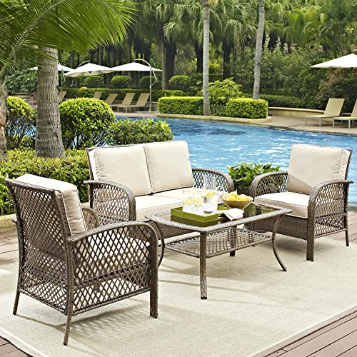 Tribeca 4 Piece Deep Seating Group Outdoor Patio Conversation Set UV Protection Wicker Rattan Steel Frame Furniture High Grade Waterproof Fade Resistant Cushions Glass Coffee Table Loveseat Chair Clearance Brown FREE REPLACEMENT GUARANTEE