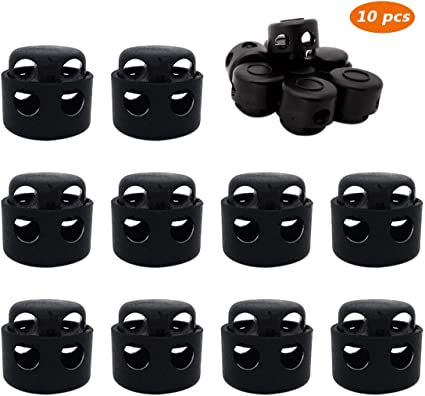 Double Hole Plastic Cord Locks Spring Toggle Stopper for Backpack,Clothing,Drawstring,Shoelaces 10 PCS,Black