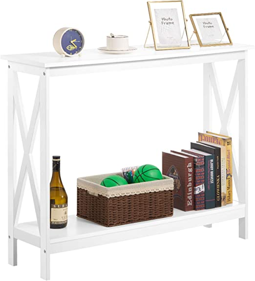 Black Kealive Sofa Table 2-Tier Wood Console Table with Storage Shelf Occasional Table X Frame