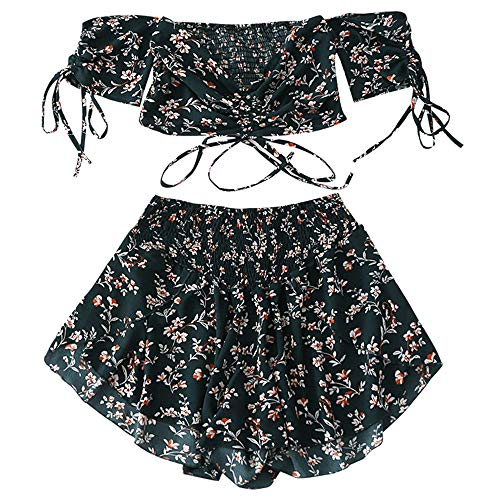 ZAFUL Women's Two Piece Off Shoulder Floral Smocked Crop Top and Shorts Set (Medium Sea Green, 2XL)