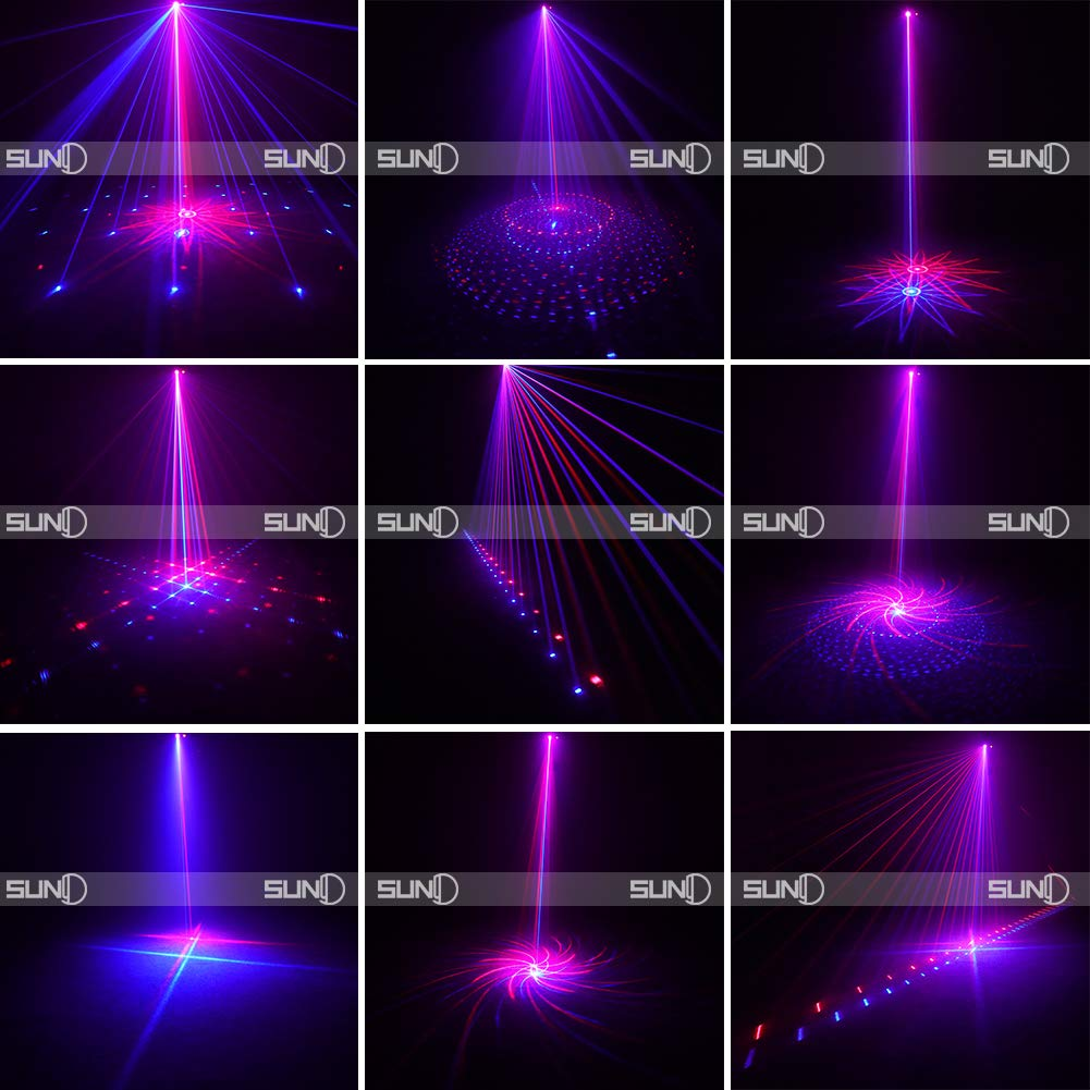 SUNY Laser Lighting 8 Gobos Effect Red Blue DJ Laser Light Blue LED Music Laser Projector Remote Control Sound Activated Stage Lighting Dance House Decoration Xmas Holiday Event Party Carnival Show by SUNY (Image #4)