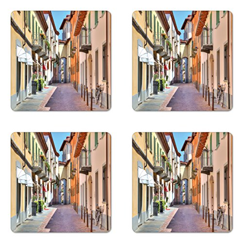 Ambesonne City Coaster Set of Four, Town of Alba Piedmont Northern Italy Narrow Stone Paved Street Among Colorful Houses, Square Hardboard Gloss Coasters for Drinks, Multicolor