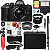 Olympus OM-D E-M10 Mark II Mirrorless Digital Camera with 14-42mm EZ Lens (Black) + 64GB Memory & Microphone Deluxe Accessory Bundle