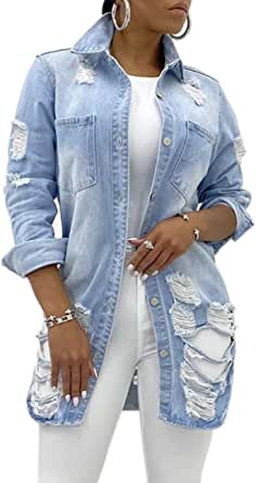 SeNight Women's Jean Jacket Long Sleeve Classic Distressed Fray Hem Tassels Denim Trucker Jackets