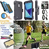 Value Pack + for 5'' LG Rebel 3 ZONE 4 K8 2018 Case Phone Case 360° Cover Screen Protector Back Window Clip Holster Kickstand Armor Shock Bumper (Black Solid)