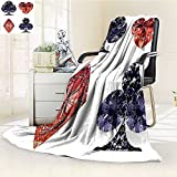 Throw Blanket Shaped Cards Poker Face Luxury Fortune Symbols Sapphireative Dark Blue Red Warm Microfiber All Season Blanket for Bed or Couch
