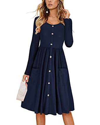 Image Unavailable. Image not available for. Color  Women s Dresses Casual Long  Sleeve ... ea4cf3c332