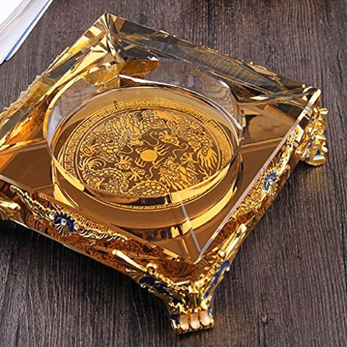 FACAIG Gold trim angle perpendicular Square Crystal glass ashtray dragon creative pattern Fashion Trend personality ashtray office club house lounge (Size: 25254 cm).