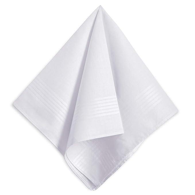Amazon.com: Pañuelos blancos para hombre, 100% algodón suave ...