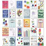 Birthday Cards – Boxed Assortment, 30 Different Designs with Birthday Greetings Inside, 32 Envelopes, Made in USA
