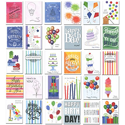 Birthday Cards – Boxed Assortment, 30 Different Designs with Birthday Greetings Inside, 32 Envelopes, Made in USA (Bulk Business Cards)