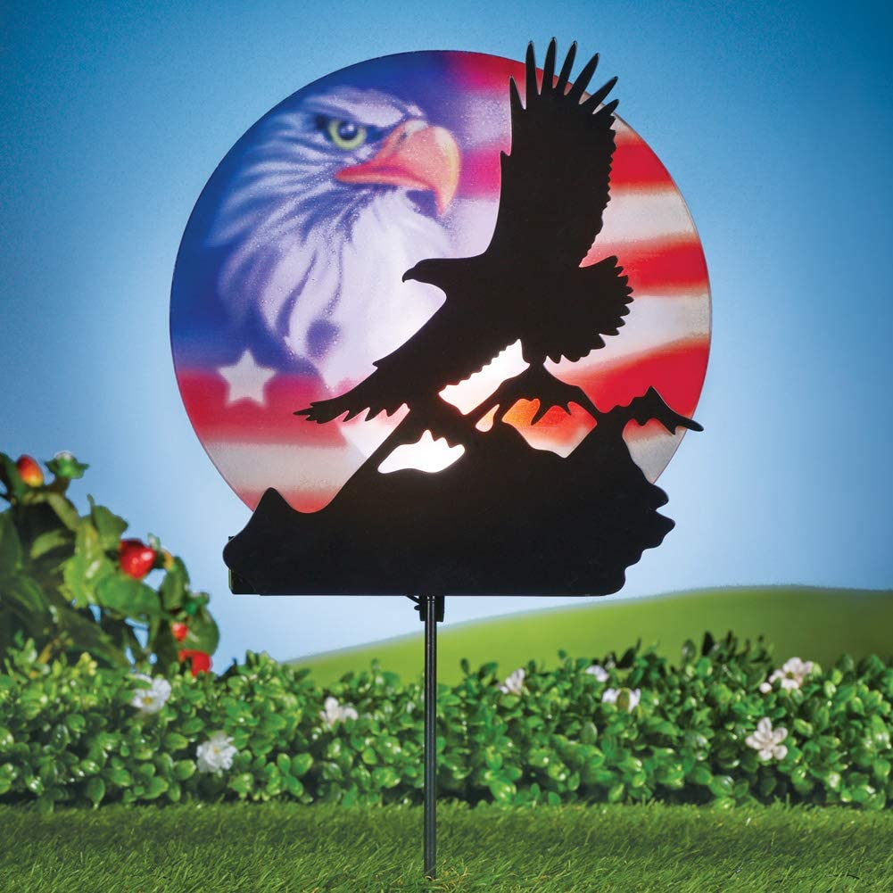 Collections Etc Solar Silhouette Bald Eagle Scene with Colorful Patriotic Background Lighted Yard Stake