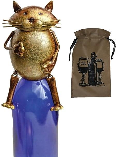 Amante de los gatos gato para botella de vino Topper y bolsa de papel para botella de vino vino Set de regalo, gato de gato mamá, papá: Amazon.es: Hogar